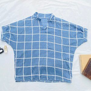 Light Blue Checked Top